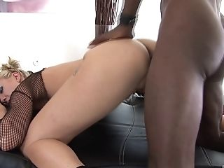 Angel Long, Blowjob, Couple, Fishnet, Hardcore, Interracial,