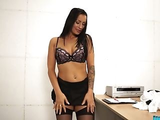 Ass, Boobless, Brunette, Exhibitionist, Long Hair, MILF, Office, Panties, Softcore, Solo,