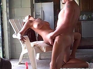 Amateur, Big Tits, Couple, Creampie, Fucking, Hardcore, Kitchen, Missionary, Natural Tits,