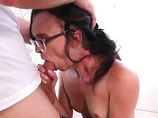 Amazing, Babe, Boobless, Brunette, Couch, Cowgirl, Cumshot, Doggystyle, Facial, Glasses,