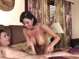 Ass, Bedroom, Big Tits, Blowjob, Bra, Brunette, Clamp, Couple, Cowgirl, Cum,