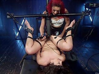 BDSM, Bondage, Boobless, Brunette, Electrified, Femdom, Fingering, Hairy, Lesbian, Mistress,