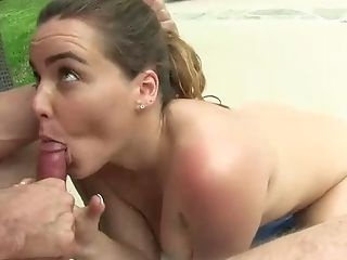 Beauty, Big Tits, Blowjob, Brunette, Cute, Deepthroat, Horny, Natasha Nice, Oral Sex, Pool,