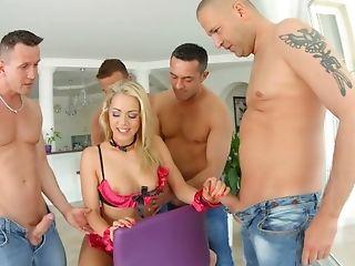 Big Tits, Blonde, Blowjob, Boots, Cumshot, Cute, Deepthroat, Face Fucking, Facial, Gangbang,