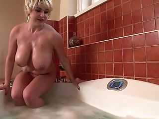 Babe, Bathroom, Big Tits, Couple, Hardcore, MILF, Natural Tits, Pornstar, Soapy Massage, Titjob,