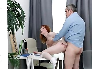 Blowjob, Bold, Caucasian, Couple, Cumshot, Ethnic, Ginger, HD, Lingerie, Old,